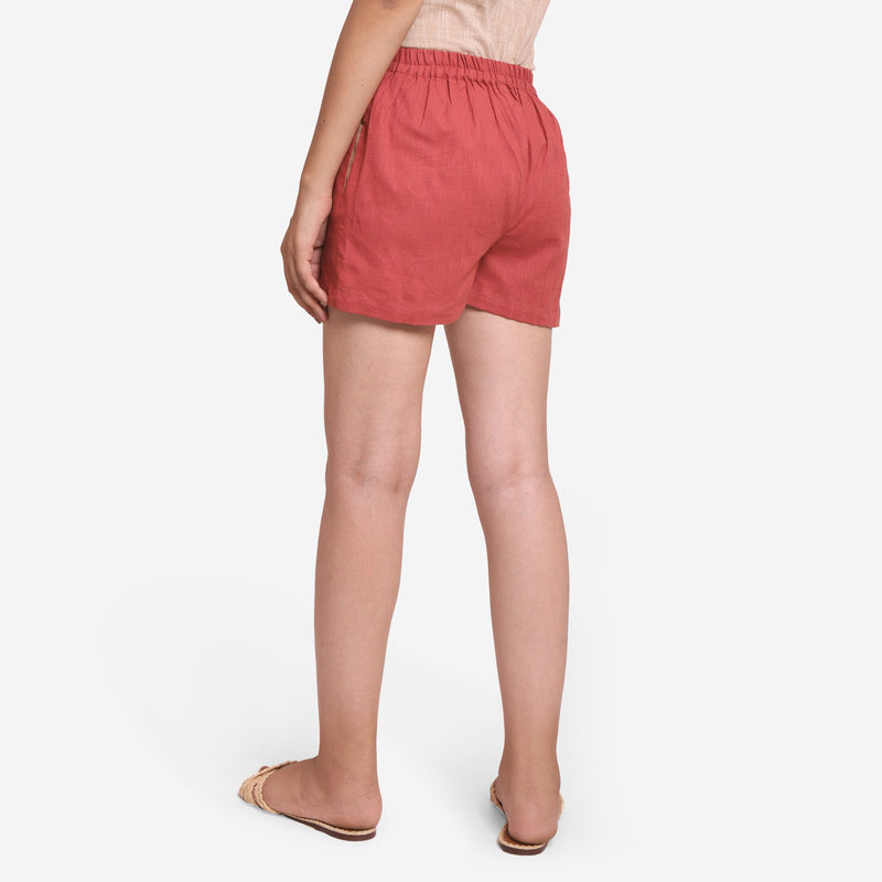 Back View of a Model wearing Brick Red Cotton Straight Shorts