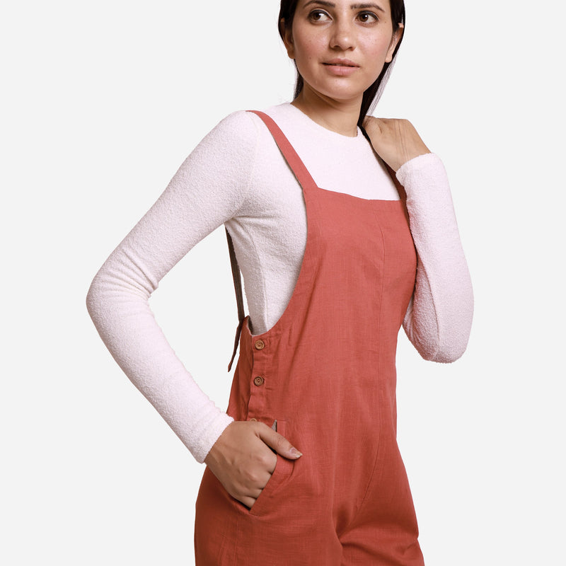 Front Detail of a Model wearing Brick Red Pinafore Dungaree