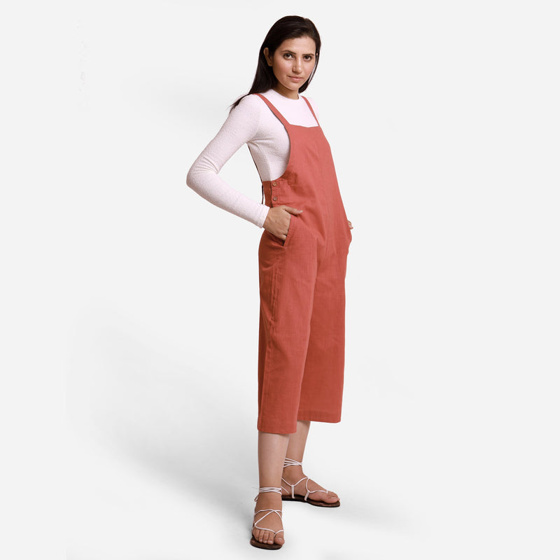 Right View of a Model wearing Brick Red Pinafore Dungaree