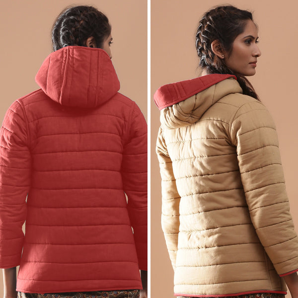 Back View of a Model wearing Brick Red Reversible Detachable Hoodie Quilted Cotton Jacket