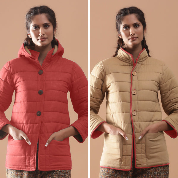 Front View of a Model wearing Brick Red Reversible Detachable Hoodie Quilted Cotton Jacket