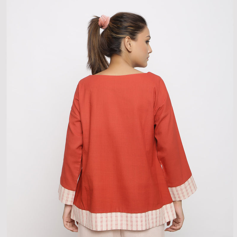 Back View of a Model wearing Brick Red Vegetable Dyed A-line Shirt