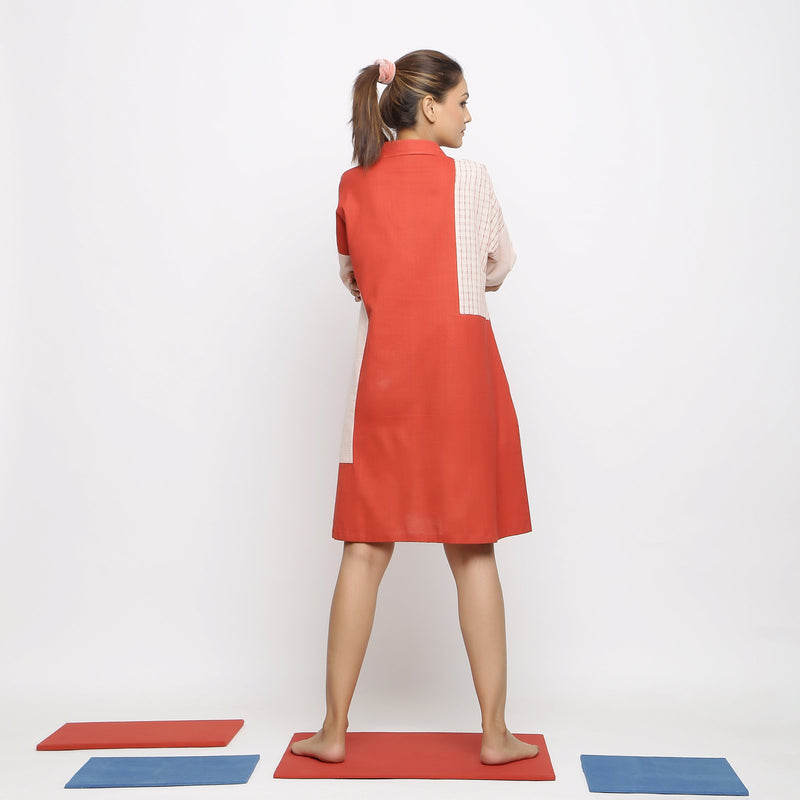 Back View of a Model wearing Brick Red Vegetable Dyed Button-Down Dress