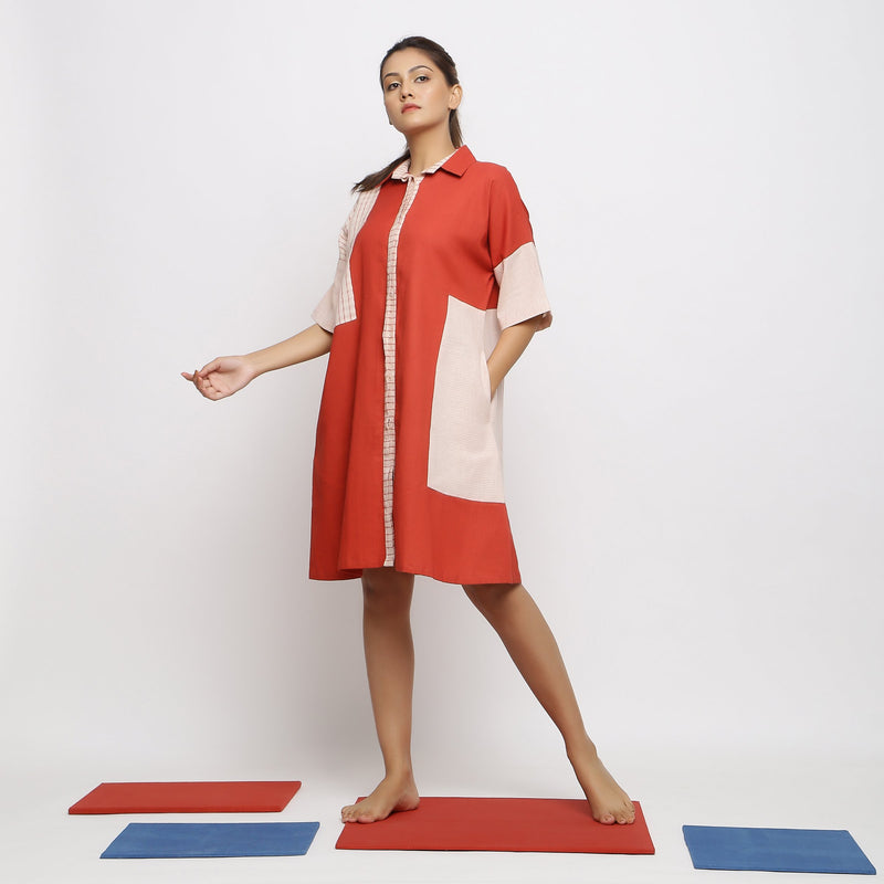 Front View of a Model wearing Brick Red Vegetable-Dyed Button-Down Dress