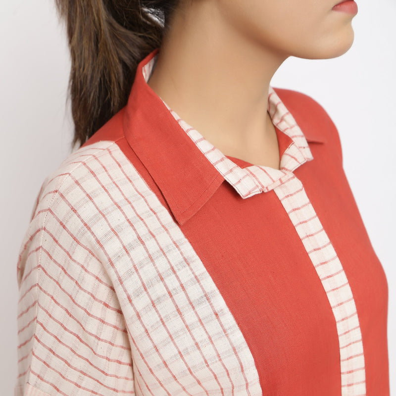 Front Detail of a Model wearing Brick Red Vegetable Dyed Button-Down Dress