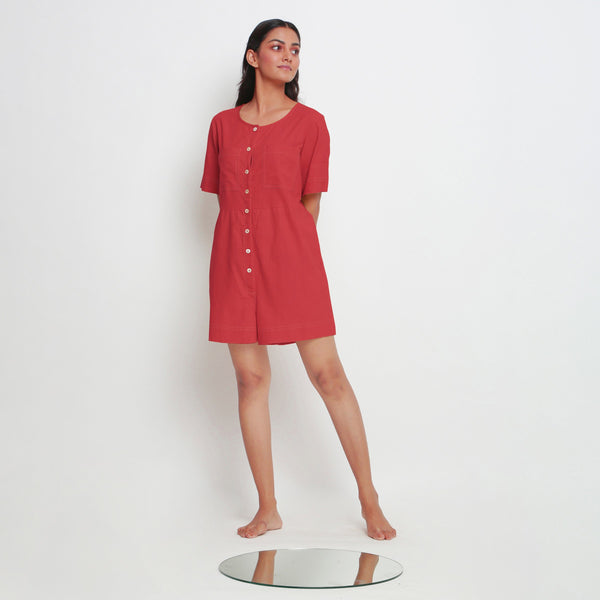 Front View of a Model wearing Brick Red Vegetable Dyed Romper