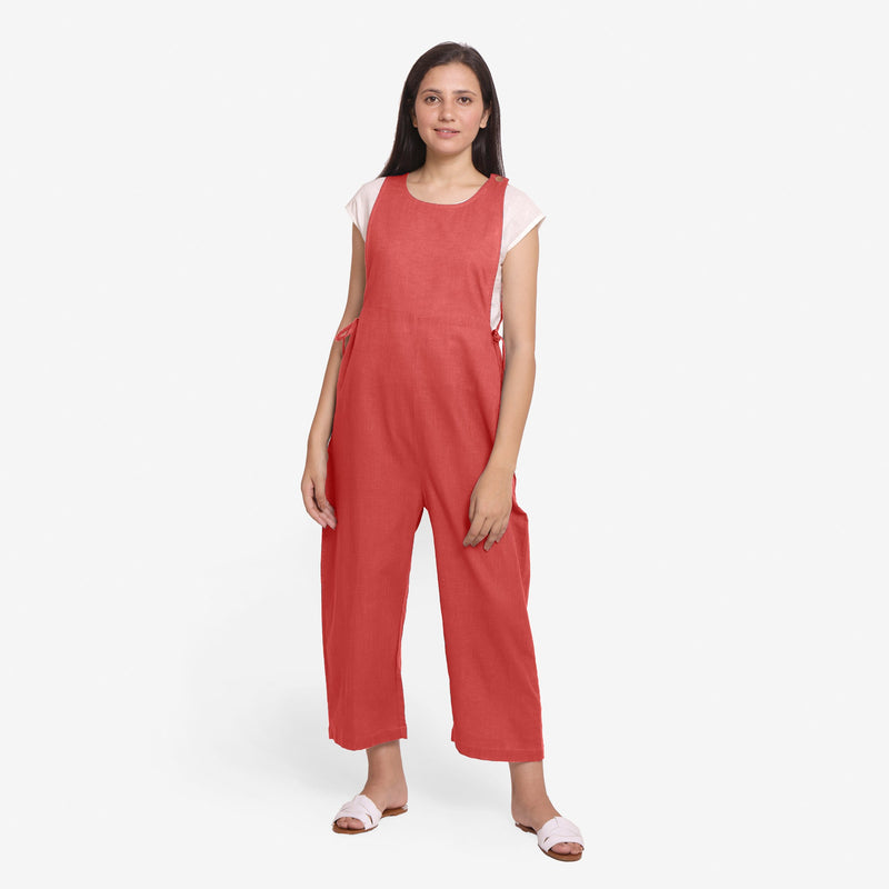 Front View of a Model wearing Brick Red Waist Tie Up Pinafore Jumpsuit