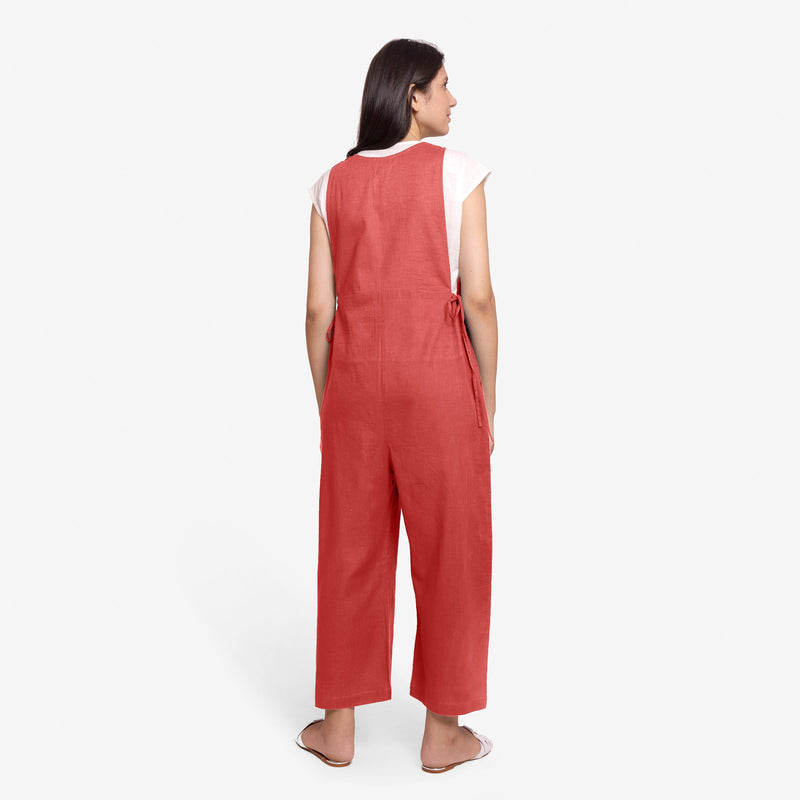 Back View of a Model wearing Brick Red Waist Tie Up Pinafore Jumpsuit