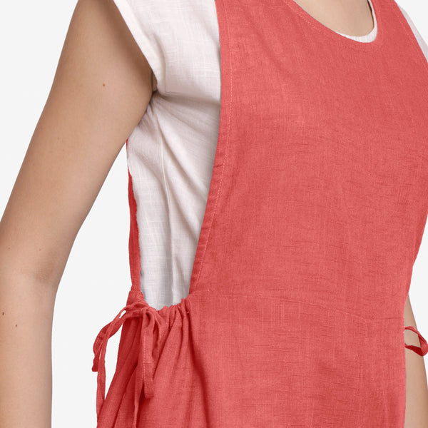 Right Detail of a Model wearing Brick Red Waist Tie Up Pinafore Jumpsuit