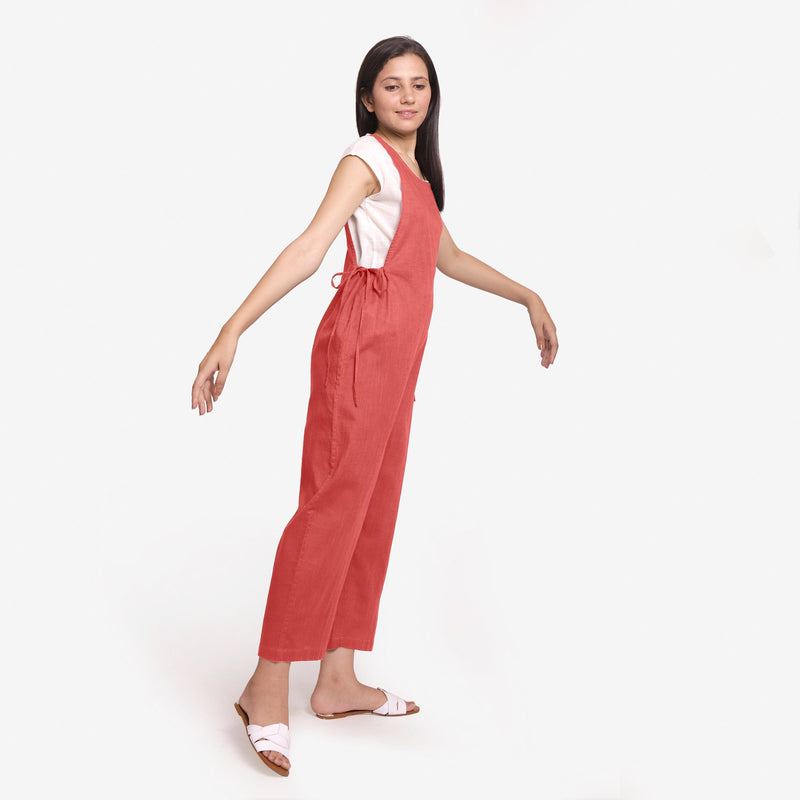 Right View of a Model wearing Brick Red Waist Tie Up Pinafore Jumpsuit