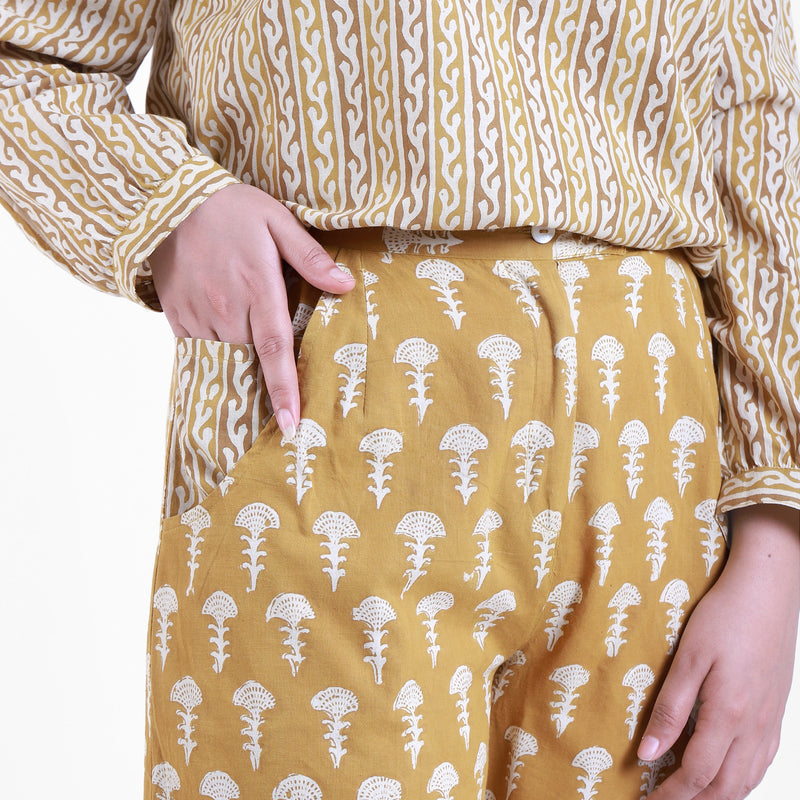 Front Detail of a Model wearing Bright Bagru Printed Top and Culottes Set