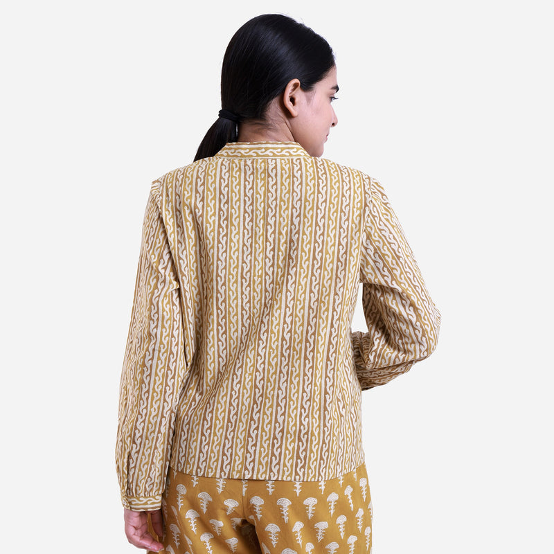 Back View of a Model wearing Bagru Block Print Mandarin Collar Top