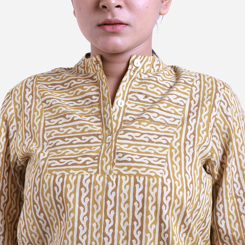 Front Detail of a Model wearing Bagru Block Print Mandarin Collar Top
