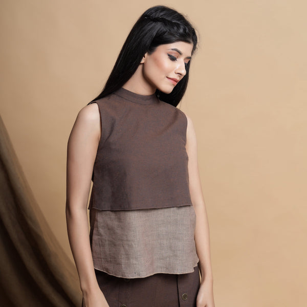 Brown and Beige Reversible Yoke A-Line Top
