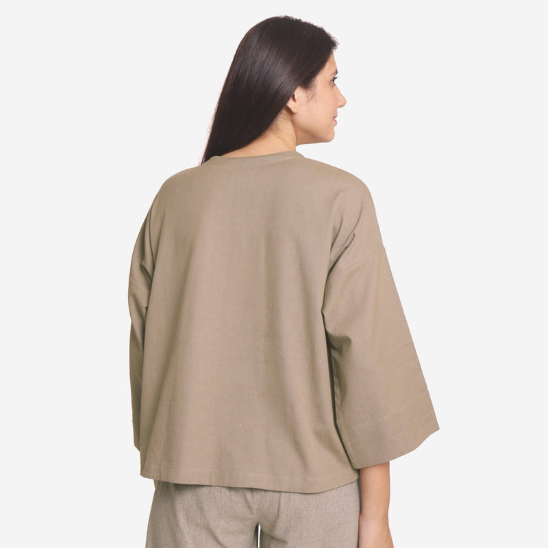 Back View of a Model wearing Brown Cotton Flax A-Line Flared Top