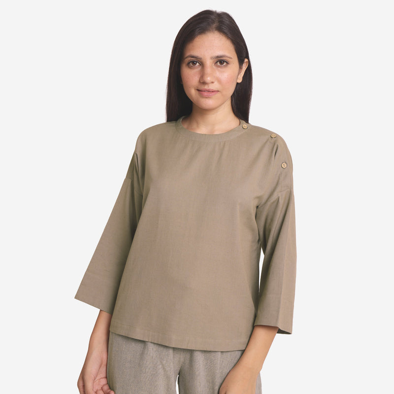Front View of a Model wearing Brown Cotton Flax A-Line Flared Top