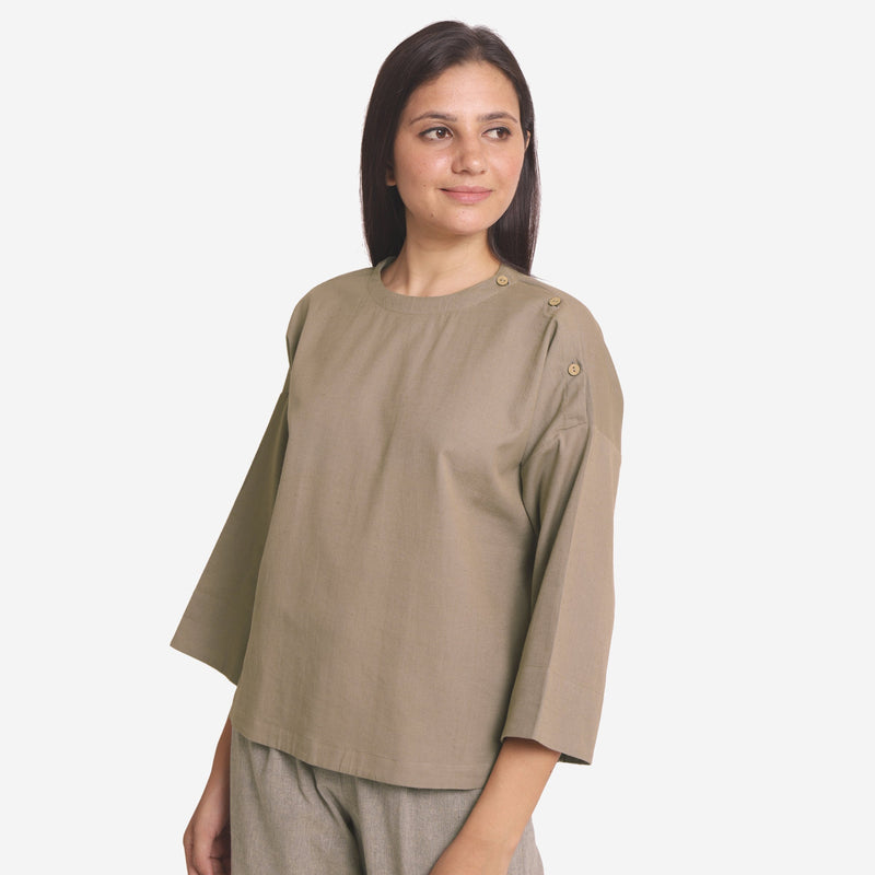 Left View of a Model wearing Brown Cotton Flax A-Line Flared Top