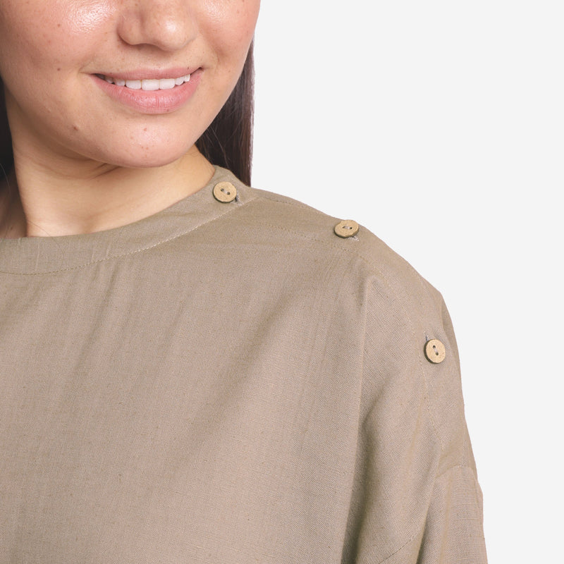 Close View of a Model wearing Brown Cotton Flax A-Line Flared Top