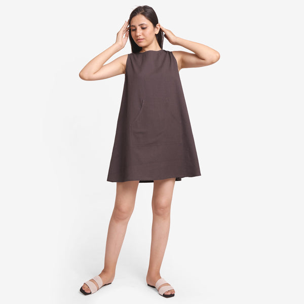 Front View Of a Model wearing Brown Cotton Flax Kangaroo Pocket Dress