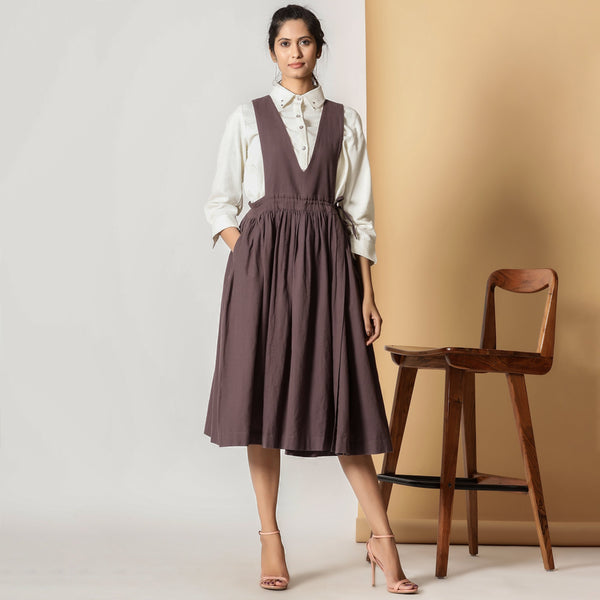 Front View of a Model wearing Brown Cotton Flax Pinafore Midi Wrap Dress