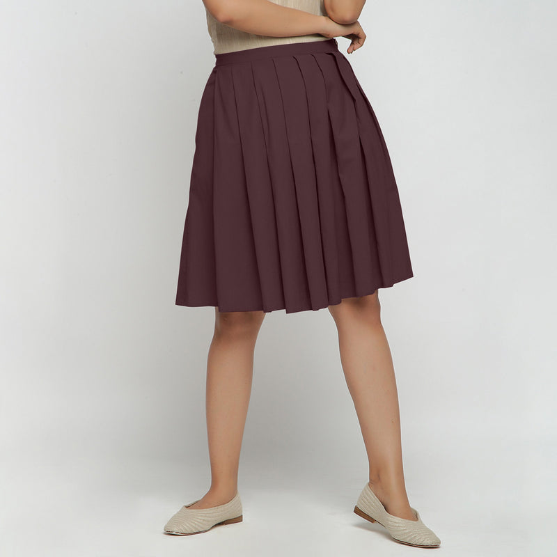 Front View of a Model wearing Brown Cotton Flax Pleated Skirt