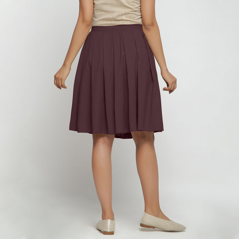 Back View of a Model wearing Brown Cotton Flax Pleated Skirt