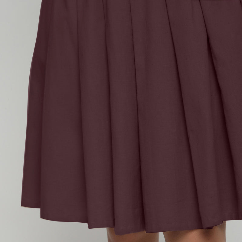 Front Detail of a Model wearing Brown Cotton Flax Pleated Skirt