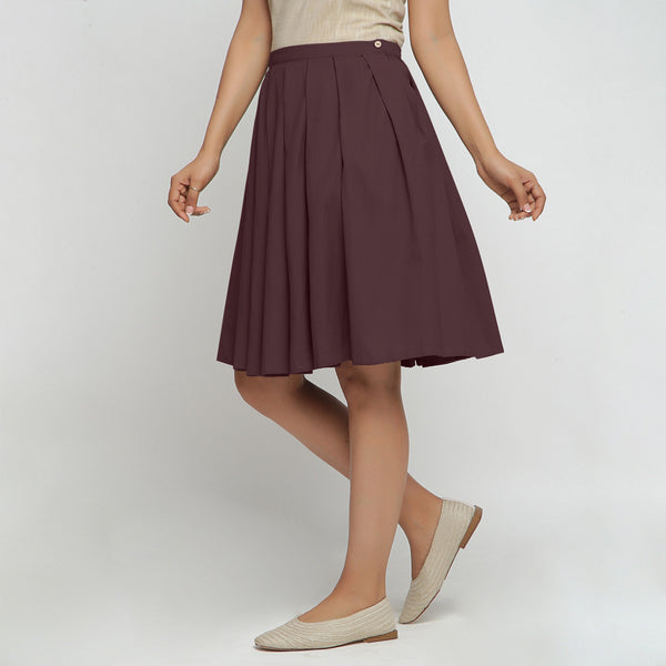 Left View of a Model wearing Brown Cotton Flax Pleated Skirt