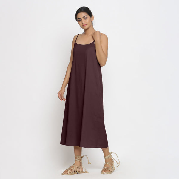 Front View of a Model wearing Brown Cotton Flax Strap Sleeve A-Line Dress