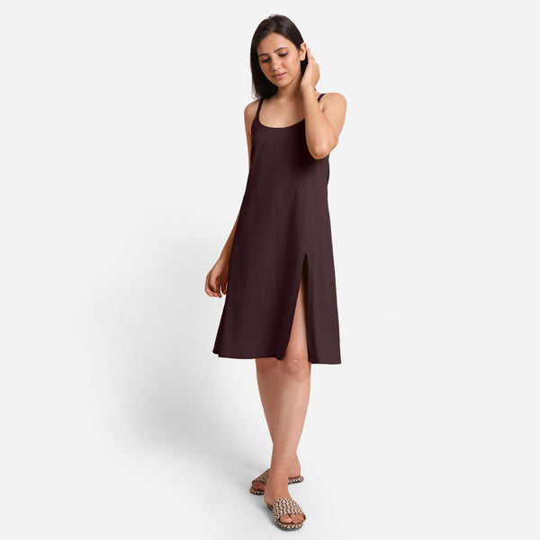 Brown Cotton Flax Strappy Slit Dress