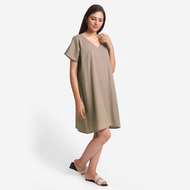 Right View of a Model wearing Brown Cotton Flax V-Neck Tunic