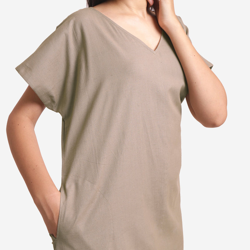 Front Detail of a Model wearing Brown Cotton Flax V-Neck Tunic