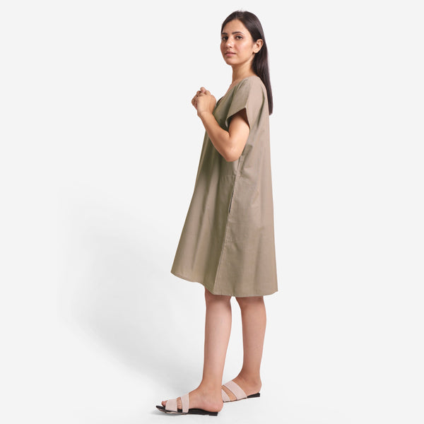 Left View of a Model wearing Brown Cotton Flax V-Neck Tunic