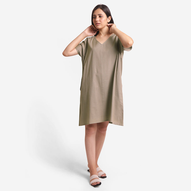 Front View of a Model wearing Brown Cotton Flax V-Neck Tunic