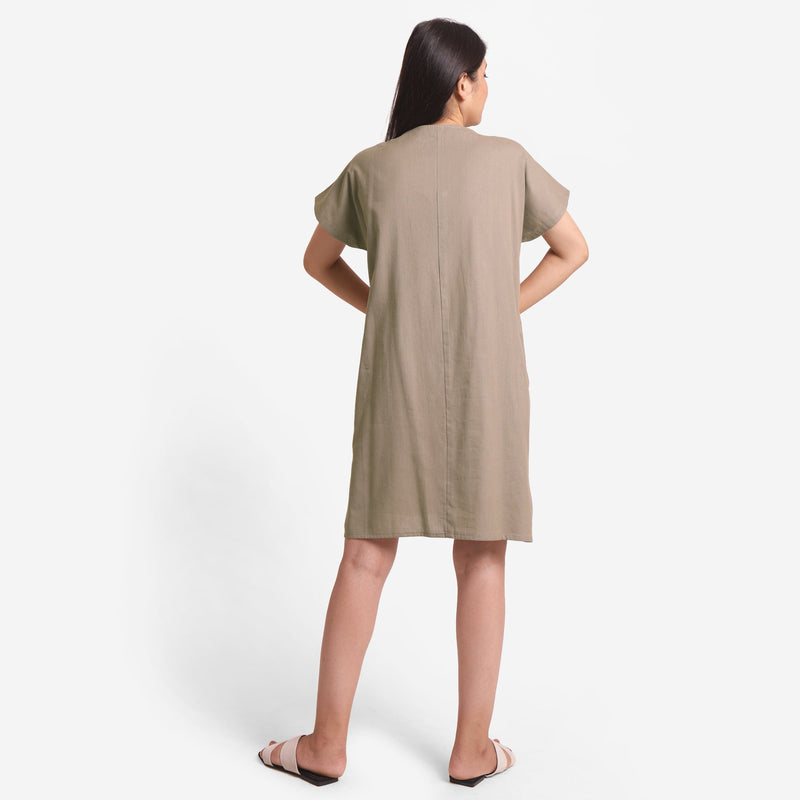 Back View of a Model wearing Brown Cotton Flax V-Neck Tunic