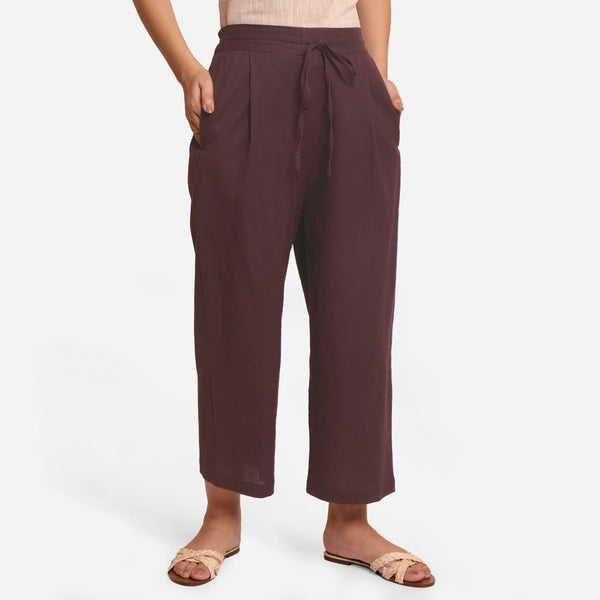 Brown Cotton Flax Wide Legged Pant