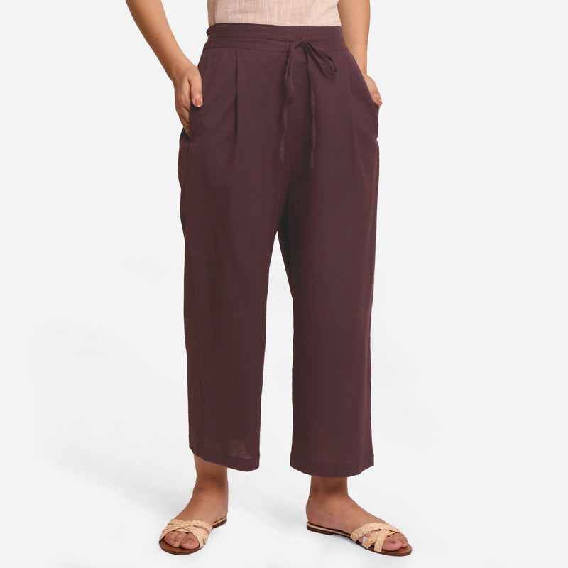 Front View of a Model wearing Brown Cotton Flax Wide Legged Pant