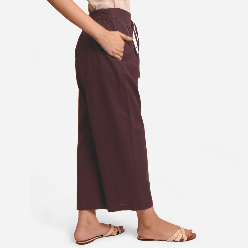 Right View of a Model wearing Brown Cotton Flax Wide Legged Pant