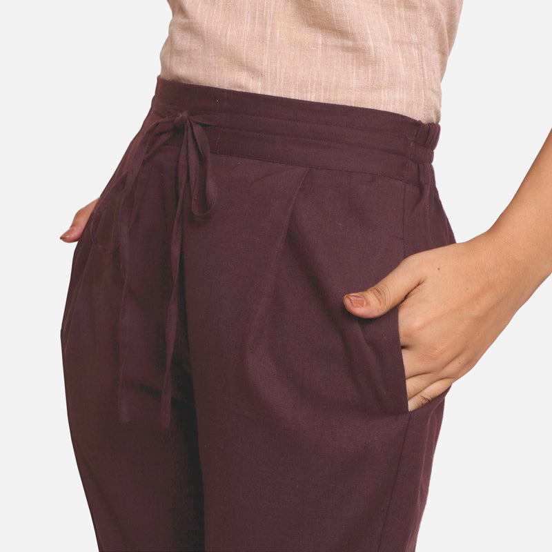 Front Detail of a Model wearing Brown Cotton Flax Wide Legged Pant