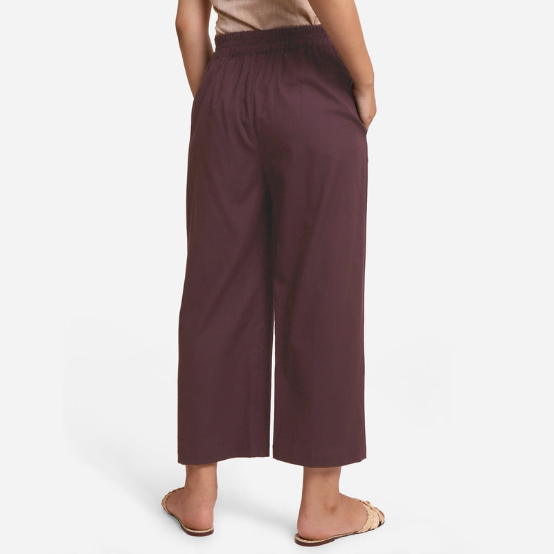Back View of a Model wearing Brown Cotton Flax Wide Legged Pant