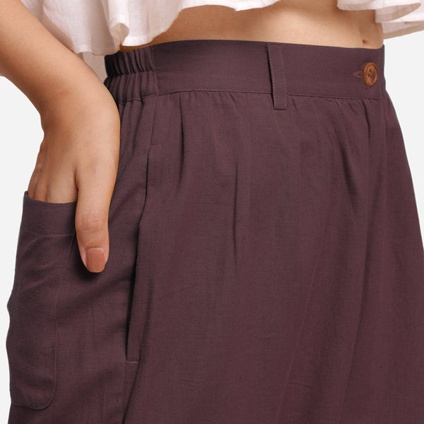 Front Detail of a Model wearing Brown Cotton Flax Wide Legged Straight Pant