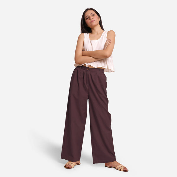 Front View of a Model wearing Brown Cotton Flax Wide Legged Straight Pant