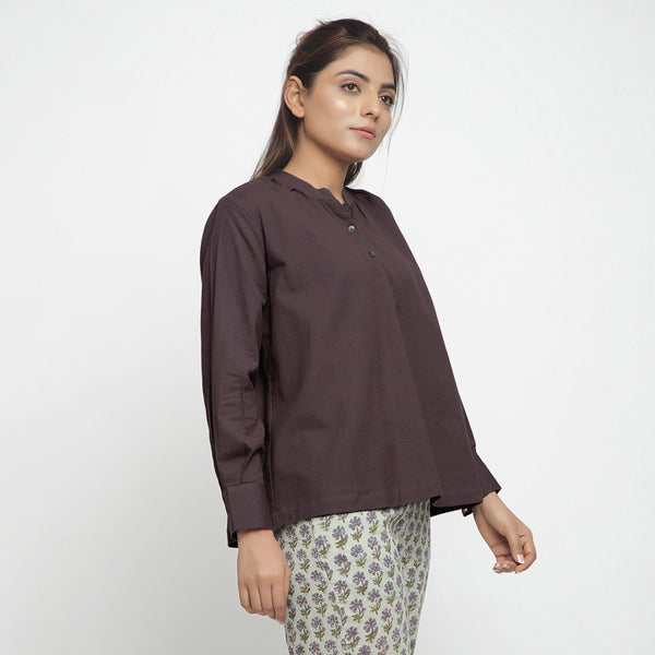 Right View of a Model wearing Brown Cotton Flax Yoked Top