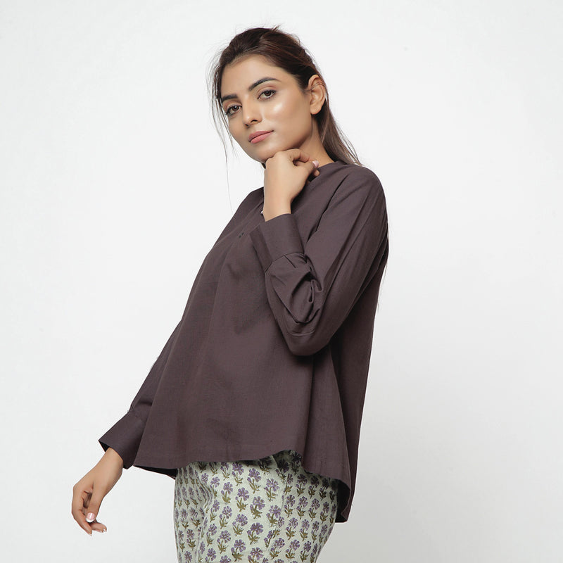 Left View of a Model wearing Brown Cotton Flax Straight Yoked Top