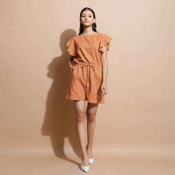 Front View of a Model wearing Brown Handspun Solid Cotton Playsuit