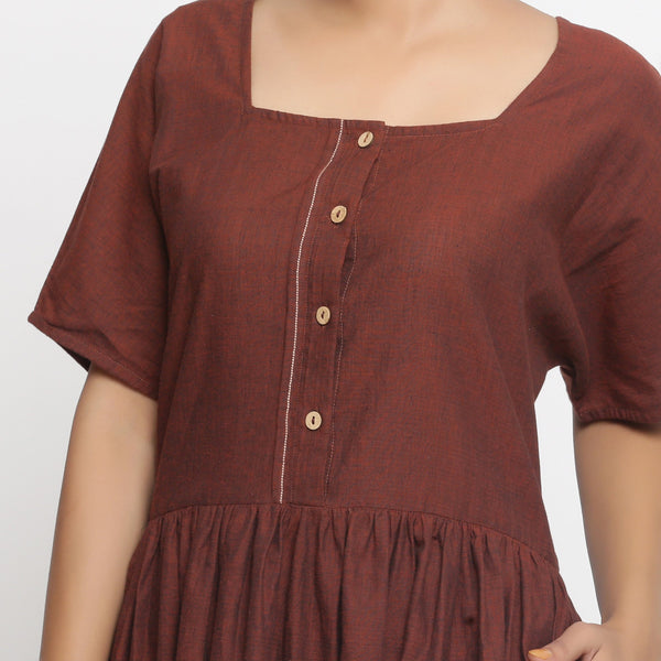 Front Detail of a Model wearing Brown Cotton Button-Down Gathered Dress