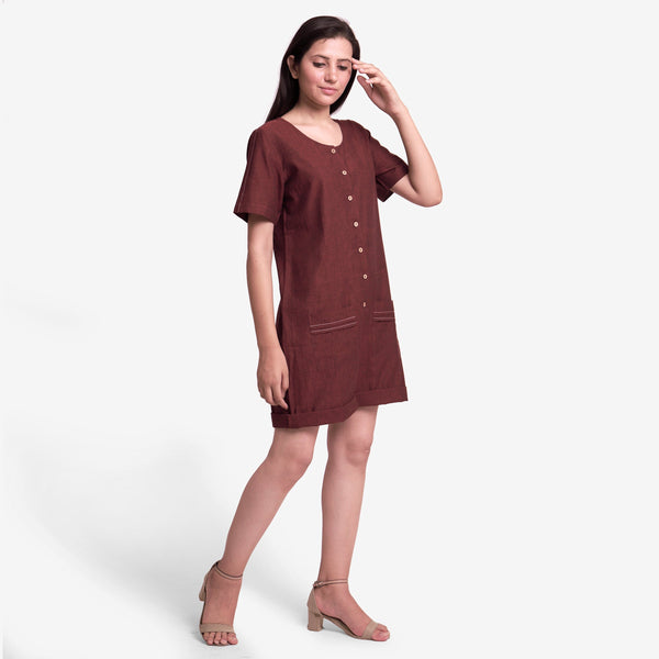 Front View of a Model wearing Solid Brown Mangalgiri Cotton Romper