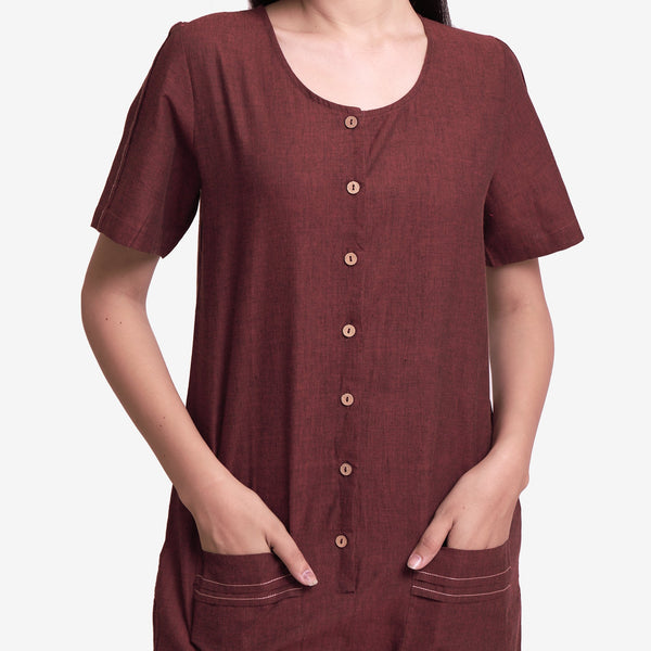 Front Detail of a Model wearing Solid Brown Mangalgiri Cotton Romper