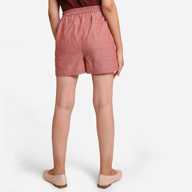 Back View of a Model wearing Pink Mangalgiri Casual Cotton Shorts