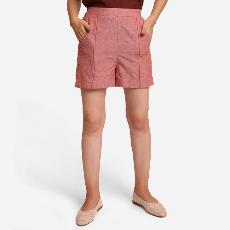 Front View of a Model wearing Pink Mangalgiri Casual Cotton Shorts